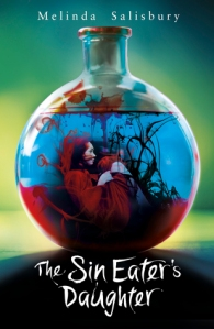 Image Description: The book cover of The Sin Eater's Daughter by Melinda Salisbury. The background is an olive-green colour, in the foreground is an apothecary-style bottle with a short neck, inside the apothecary-style bottle is blue-red liquid and a young adolescent girl crouched, with her knees pinned to her chest.
