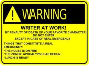 warning writer at work
