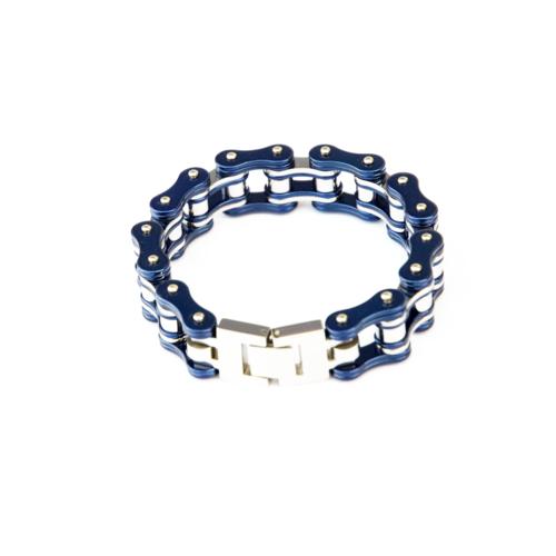 Item Description: metal bracelet that resembles a bike chair with blue on the outside of the bracelet.