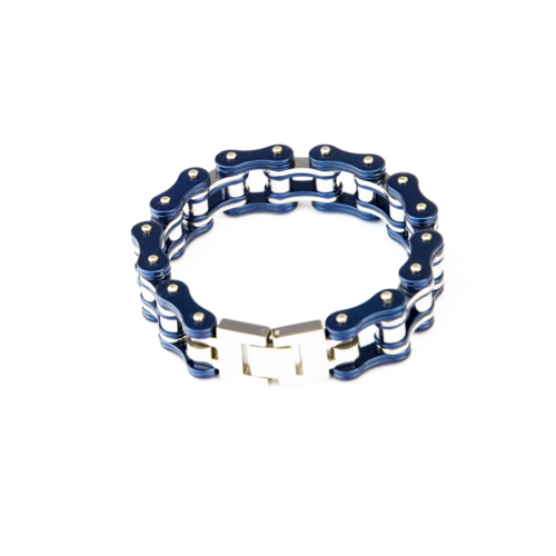 Item Description: metal bracelet that resembles a bike chair with blue on the outside of the bracelet.