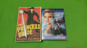 Image Description: from left to right, a copy of The Princess Bride (the novel) by William Goldman and a DVD of The Princess Bride.