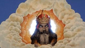 Image Description: A cartoon picture of god from Monty Python who appears to be emerging from glowing clouds