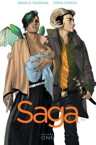 Image Description: book cover of Saga, Volume 1 by Brian K. Vaughan and Fiona Staples