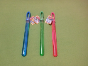 Image Description: from left to right, a Blue bubble-wand, a Green bubble-wand and a Pink bubble-wand