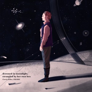 Image Description: an illustrated picture of Carrie Fisher as General Organa (from The Force Awakens) standing on the deck of a space-ship with the cosmos and various planets and galactic-bodies in the background. In the corner of the picture is plain black text that reads