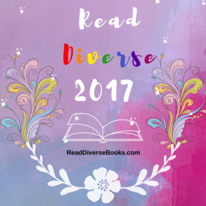 Image Description: A pink and purple coloured button with the text 'Read Diverse Books 2017' in white text with the word 'Diverse' written in rainbow coloured text. there is also the white outline of a clip-art picture of a laid open book