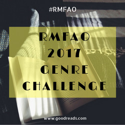 Image Description: a button image displaying text that reads RMFAO 2017 Genre Challenge