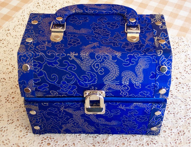 Image Description: a small blue and silver chest with a handle and silver press-studs along the edge of the box on both sides. On the main body of the chest is swirling silver designs and silver Asian-style Dragons in flight against a blue-fabric background.