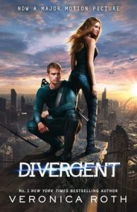 Image Description: book cover of Divergent by Veronica Roth. This is the movie tie-in version with an adolescent female (Tris) positioned with her back towards the male character (Four), who is currently crouching, they essentially standing/crouching back to back on a roof top facing different directions but both of them are looking towards the viewer. They are surrounded by derelict skyscrapers.