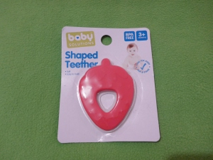 Image Description: a package of Baby Solutions Shaped Teether in the shape of a strawberry.