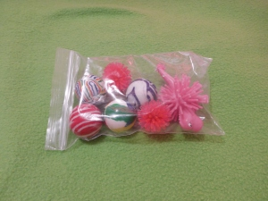 Image Description: a transparent-zip-lock-bag with four multi-coloured bouncy balls, two red mini-prickle-balls and a pink dinosaur-prickle-ball.