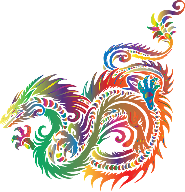 a rainbow dragon coiled around itself in pounce-position, looking as though it's about to take off.