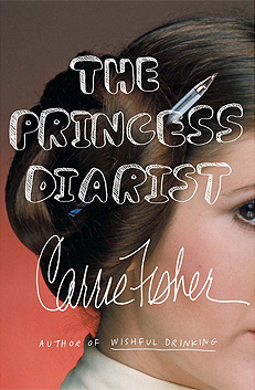 Image Description: The book-cover of The Princess Diarist by Carrie Fisher. The background is red, while the foreground contains a close-up, side-long image of Carrie Fisher dressed as Princess Leia Organa (from the movie Star Wars) with a pen through one of her coiled buns of hair. The title and author text are imposed on top of the picture.