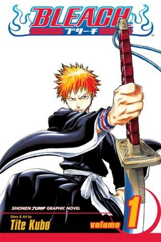 Image Description: the book-cover of Bleach Volume 1 by Tite Kubo. The cover is a mostly white background with an adolescent male with orange hair wearing a black robe and pulling a sword out of a sheath.