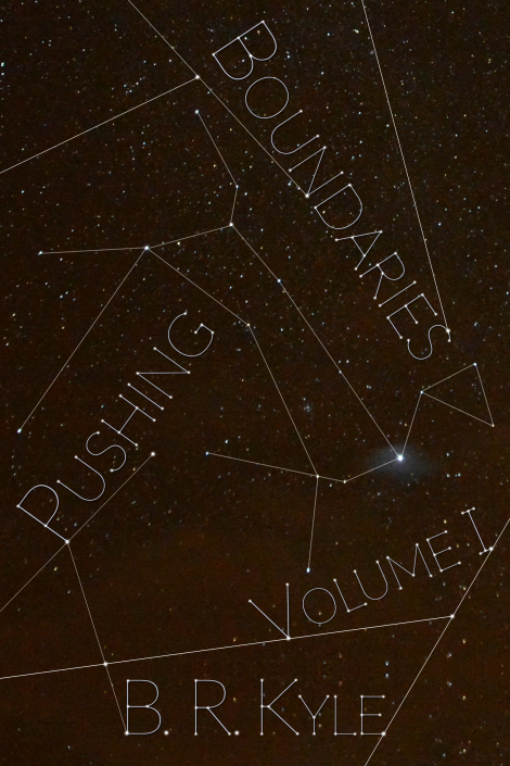 Image Description: book cover of Canis Major - Volume I of the Pushing Boundaries series. The cover is picture of the constellation of Canis Major, as depicted in the Southern Hemisphere (the nose of Canis Major is positioned in a downward direction).