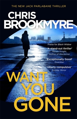 Image Description: book cover of Want You Gone by Christopher Brookmyre. The book-cover depicts a shadowy silhouette in the mid-background standing on a long concrete driveway/runway, behind the shadowy silhouette is a CBD landscape (lots of differently shaped buildings). The cover looks like it was a photo taken from the passenger seat of a car. The cover also has a blue tint over the whole cover with the title of the book in yellow text and white text for the author title.