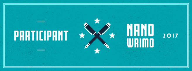 Image Description: a participation banner for NaNoWriMo 2017. The banner is turquoise-blue with white text, in the centre of the banner is two over-crossed pens and four stars surrounding the pens.