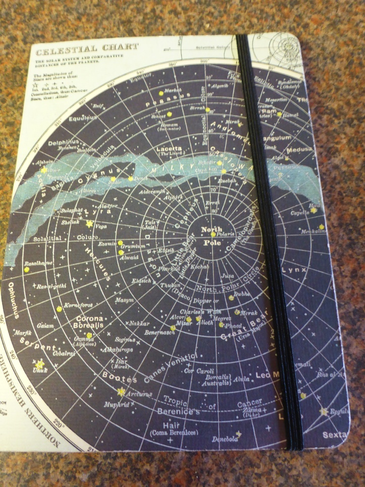 Image Description: a notebook with a light-blue and dark-blue colour-scheme. The cover consists of a start-chart of the Northern Hemisphere constellations with a black band of elastic around the edge of the notebook to keep it closed.