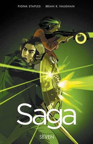 Image Description: book cover of Saga, Volume Seven by Brian K. Vaughan and Fiona Staples. The cover has a green and dark green tint over the cover, the cover's main focus is a side-profile picture of the series two main characters Alana and Marko. Alana is holding a laser rifle and is firing at someone off-screen, Marko is holding a shield and deflecting fire, he is also looking over his shoulder at something off-screen.