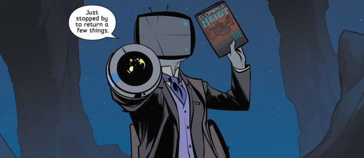 Image Description: an image of Sir Robot (a humanoid alien with pale-blue skin and a television for a head) forming his hand into a cannon facing the viewer and his right hand holding up a paperback novel. There's a dialogue bubble above his head that says I just stopped by to return a few things.