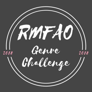 "Image Description: an image with a black background and white text. In the center of the image is the text, ""RMFAO Genre Challenge"", at the edges of the circle there is more text, ""2018"" in pink text on either side of the image."
