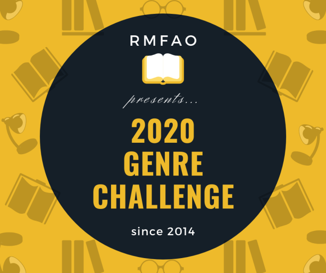 "Image Description: The background of the image is yellow with a repeating random pattern of sillohetted images: a pair of glasses, three books stacked together, a lamp, and an open book. In the center foreground of the image is a black sphere with the following text in yellow: ""RMFAO presents… 2020 Genre Challenge."" with ""since 2014"" written in white text underneath."